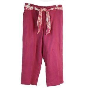 Liz Clairborne Linen Pants Size 10 Scarf Belt Crop